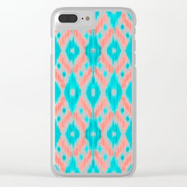 Artsy Coral Teal Abstract Ikat Geometric Pattern Clear iPhone Case