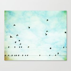 Birds Flying in Sky, Birds on Wires, Aqua Sky Nursery Art Canvas Print
