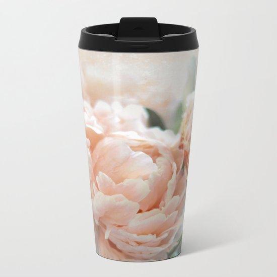 Peach Peonies Metal Travel Mug