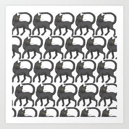 Sassy Black Cat (pattern) Art Print