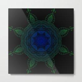 Blue and Green Mandala Metal Print