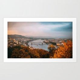 Sunset from the Gellért Hill Art Print