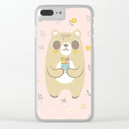 Cute Bear Holding a Plant Clear iPhone Case