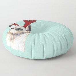 Llama Reindeer in Green Floor Pillow