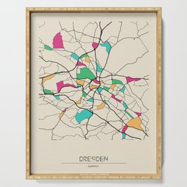 Colorful City Maps: Dresden, Germany Serving Tray