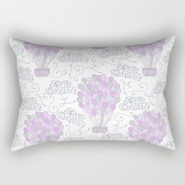 Vintage hot air balloons line drawing pastel purple Rectangular Pillow