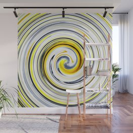 Yellow And Black Funky Swirl Wall Mural