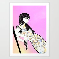 grimes Art Prints featuring GRIMES by Anna Kuzmicheva