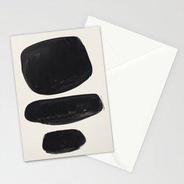 Mid Century Modern Minimalist Abstract Art Brush Strokes Black & White Ink Art Tribal Pebbles Stationery Cards