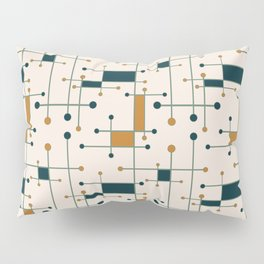 Intersecting Lines in Cream, Blue-Green and Orange Pillow Sham