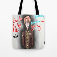 hetalia Tote Bags featuring America, America Don't You Cry by AquaticGalaxy