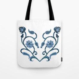 Blue Paisley Heart Tote Bag