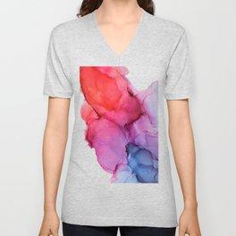 Bleeding Rainbow Blend - Alcohol Ink Painting Unisex V-Neck