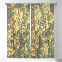 Blooming Lantana Plant Sheer Curtain