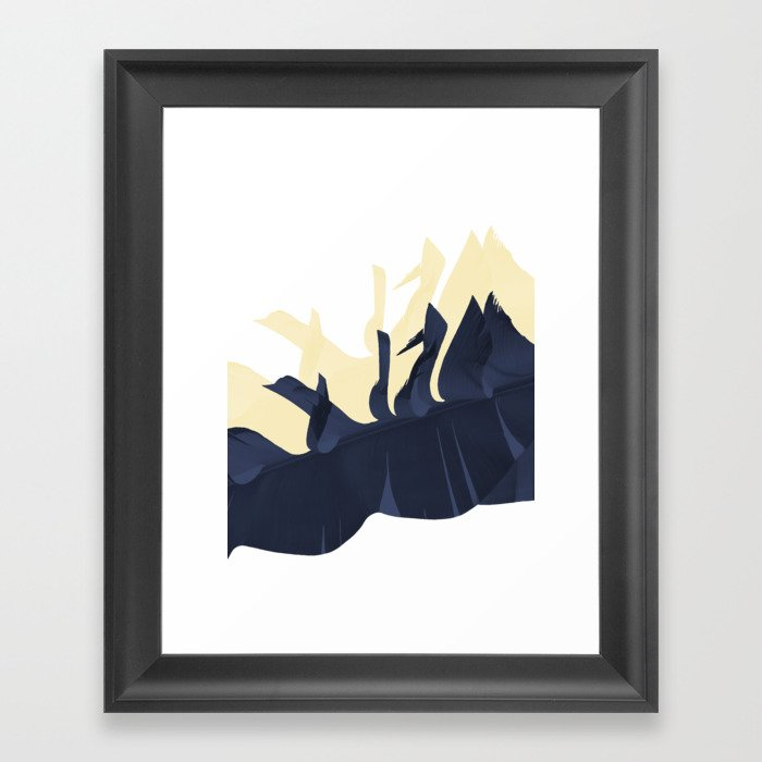 Banana leaves dark blue vs yellow Framed Art Print