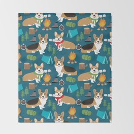 Corgi camping marshmallow roasting corgis outdoors nature dog lovers Throw Blanket