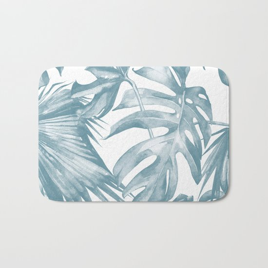 Island Dream Teal Blue Leaves Bath Mat