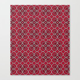 Crimson Red Clover Pattern Design Canvas Print