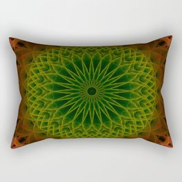 Mandala in green and red tones Rectangular Pillow