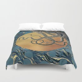 Gold Marble Octopus Duvet Cover