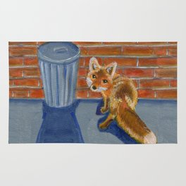 Looking for dinner, urban fox Rug