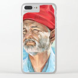 Steve Zissou Bill Murray Painted Portrait Clear iPhone Case