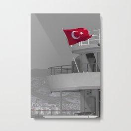 Boat with turkish flag Metal Print