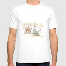 An Autumn Fall Scene - A Fawn and a Young Boy Mens Fitted Tee MEDIUM White
