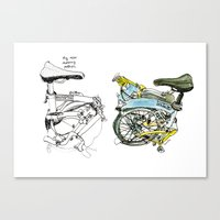 brompton Canvas Prints featuring My brompton by Swasky