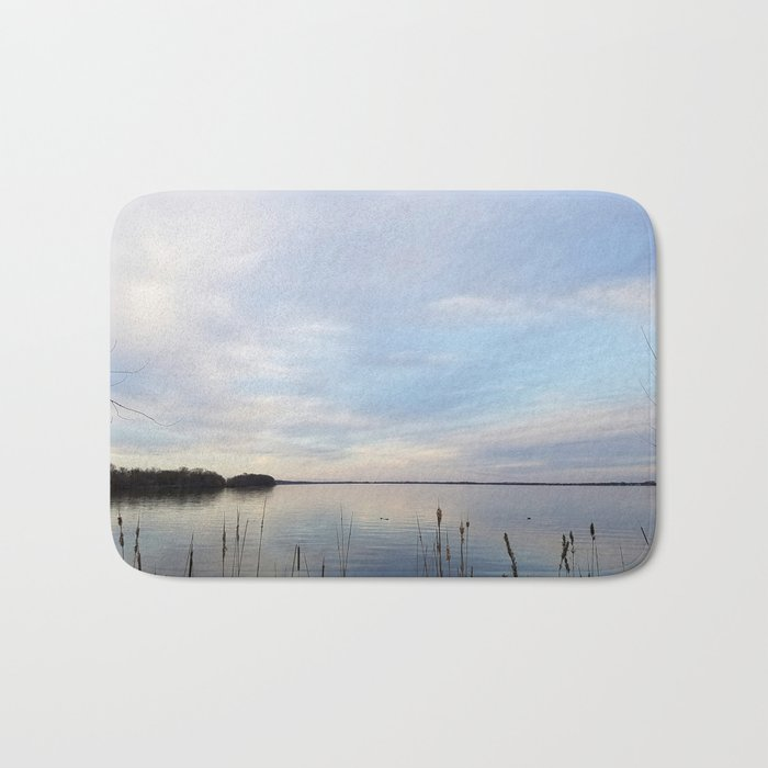 Twilight Serenity - Clouds and reflections on University Bay Bath Mat