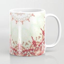 Autumn's Splendor Mandala -- Russet Red Leaves on Pale Mint Coffee Mug