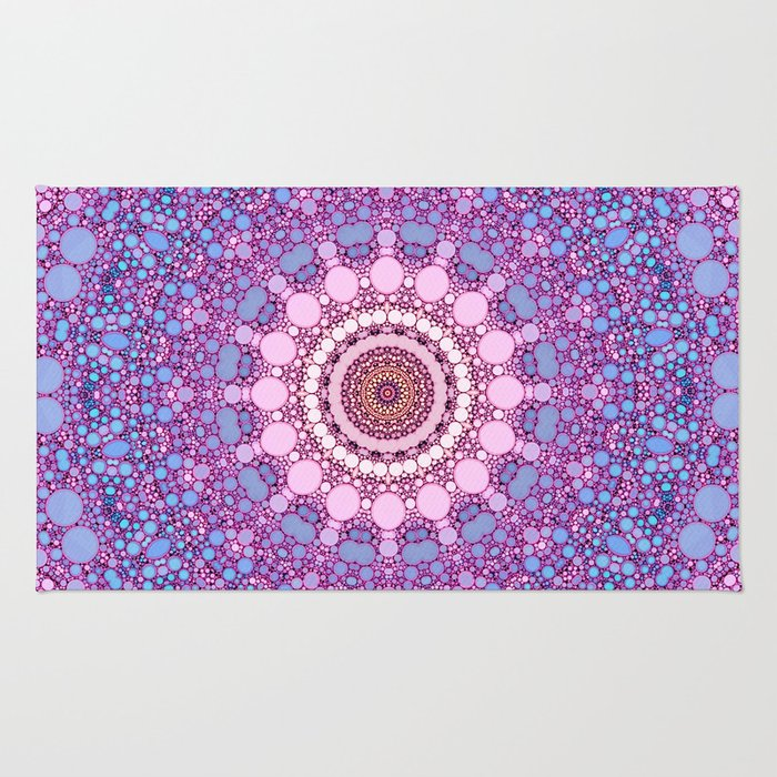 Pink And Blue Kaleidoscope Rug By Sylviacookphotography