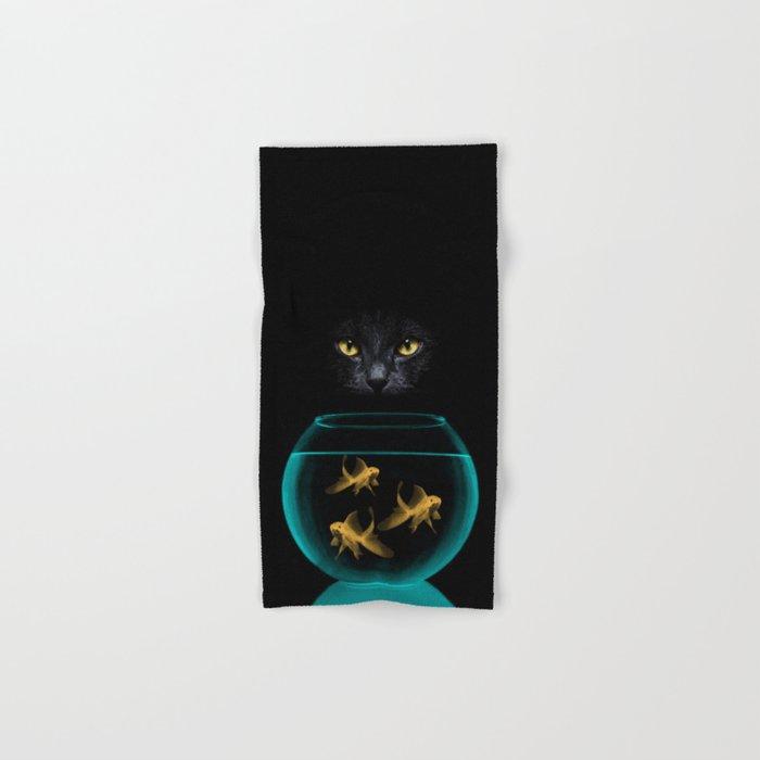 Black Cat Goldfish Hand & Bath Towel