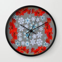 GOLD  GARLAND & SNOWFLAKES   RED AMARYLLIS FLOWERS CHRISTMAS ART Wall Clock