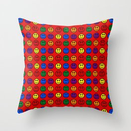 Red Smiley Faces Pride Rainbow Colors Throw Pillow