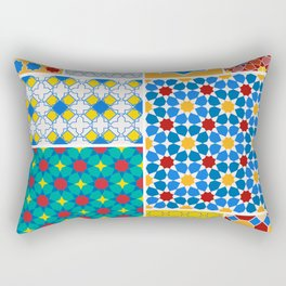 Moroccan pattern, Morocco. Patchwork mosaic with traditional folk geometric ornament. Tribal orienta Rectangular Pillow