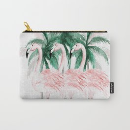 Three Flamingos Carry-All Pouch