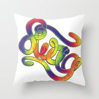 swag Throw Pillows featuring Swag by Haze Design
