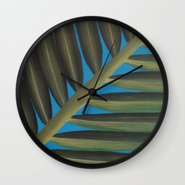 Tropical palm frond leaf Wall Clock