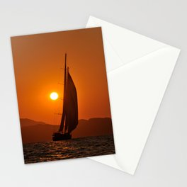 sailboat in sunset Stationery Cards