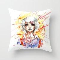 tokyo ghoul Throw Pillows featuring Tokyo Ghoul - Juuzou Suzuya by Kayla Phan