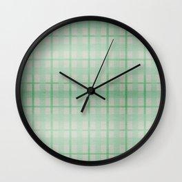 Pale Sea Plaid Wall Clock
