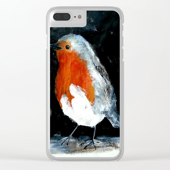 Robin British Wildlife Wild Bird Acrylic Painting Clear iPhone Case