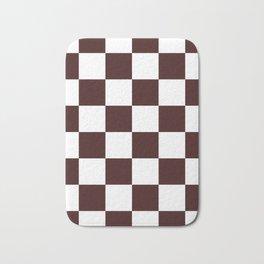 Large Checkered - White and Dark Sienna Brown Bath Mat