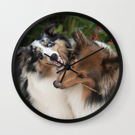 Sheltie dogs playing Wall Clock