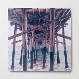 Balboa Pier Print {2 of 3} | Newport Beach Ocean Photography Magenta Summer Sun Wave Art Metal Print