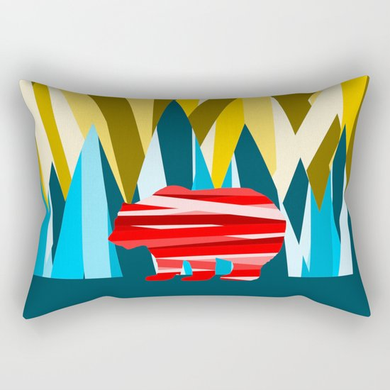 Abstract lines Bear Rectangular Pillow
