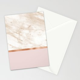 Caramel marble on rose gold blush Stationery Cards