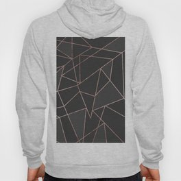 Chic Rose Gold Geometric Outline on Black Charcoal Hoody