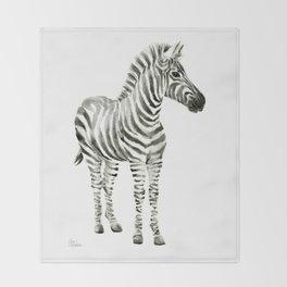Zebra Watercolor Baby Animals Throw Blanket
